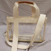 tas transparan selempang dengan resleting