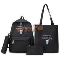 Tas Ransel / Backpack Wanita 4 in 1 - Hitam