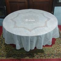 taplak meja makan 6 kursi bulat plastik waterproof anti air 180 putih