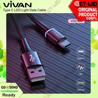 Kabel Data USB Type C LED Fast Charge 3A QC 3.0 VDC100