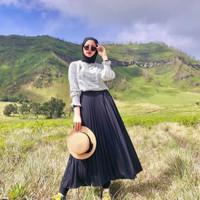 Rok plisket rempel /Rok kerja panjang muslim/Rok wanita dewasa