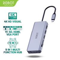 ROBOT USB HUB HT390 Multiport 9in1 USB Type C HUB Adapter Lightweight