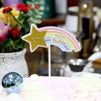 Cake Topper / Topper Kue HBD / Happy Birthday Rainbow Star Smile