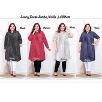 Tunik Dress Wanita Jumbo Ld118cm XXL 3L Wolfis Premium Kancing Full