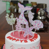 Cake Topper / Topper Kue HBD / Happy Birthday Mermaid Set
