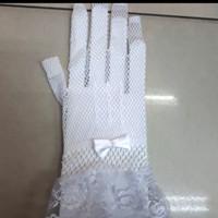 Sarung Tangan Fashion Wedding PENDEK Jala Pita Satin kecil Brokat