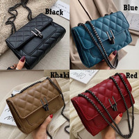 Sling Bag Quilted GD35166 Tas Selempang Rantai PU Leather Elegan Impor
