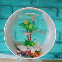 aquarium mini unik akrilik pvc cupang ikan hias