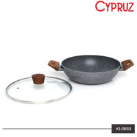 Wajan | Panci Induksi Marble Cyprus 30cm + Tutup Kaca Cypruz KI-0650