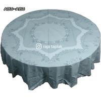 Taplak meja makan plastik waterproof anti air bulat 180cm abu-abu