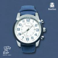 BEETLES Arthur White Jam Tangan Kulit Analog Pria Anti Air - Navy Blue