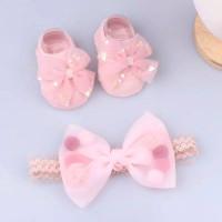 Kaos Kaki Bayi SET bandana Bando Bayi Newborn Mahkota Angel Bunga - Pink 3