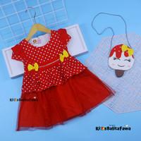 (GRATIS TAS) Dress Sakura 3-18 Bulan / EXPORT Quality Baju Anak Bayi - Pink Fanta, M
