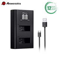 Powerextra Dual Charger With USB Type C Cable for GOPRO HERO 8 / 7 / 6