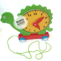 Mainan Edukasi Jam Kayu Kura-kura Roda
