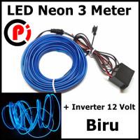 Seametal Lampu Interior Mobil LED Neon 3 Meter Plus 12V Inverter Biru