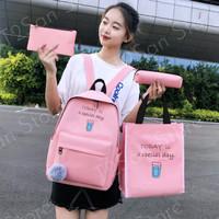 Tas Ransel Wanita / Backpack Wanita Trendy 4 in 1 - Merah Muda