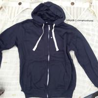 jaket zipper navy wanita pria hoodie jumper jacket woman size L