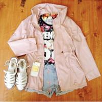 Parka bangkok jaket panjang dusty pink parasut adem