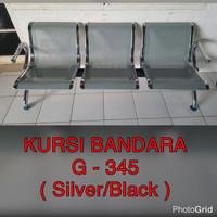 kursi tunggu / bandara 3 seat sandaran - silver