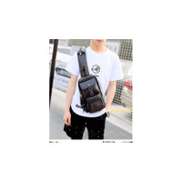 Korea Oppa Black Leather Casual Chest Shoulder Bag