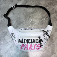 Waist bag pria branded import balenciaga graffiti paris