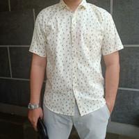 Kemeja Printing Pria Casual Motif Hawai Lengan Pendek Bahan Katun