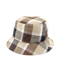 Urban State - Contrast Plaid Bucket Hat - Brown