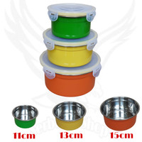Kotak Makan Set 3pcs Stainless Bahan Tebal /Food Box Storage