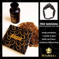 MISHORA MATTE LIP CREAM BUNDLE 4 WARNA HARD BOX ( FREE BANDANA )