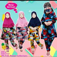 Setelan tunik hijab LP 490-2 untuk anak perempuan setara 3-9thn