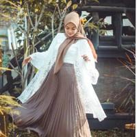 Rok plisket murah 2 warna /Rok kerja panjang muslim/Rok wanita dewasa - krem