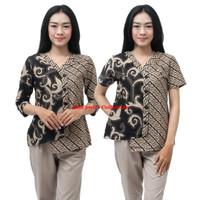 Batik Wanita Modern atasan Blouse Putri Kembar Coklat Muda