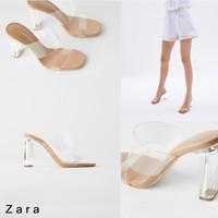 Sepatu Heels Wanita Zara Heels 6/9cm transparan Free ZARA Paperbag - Tan 9cm, 36