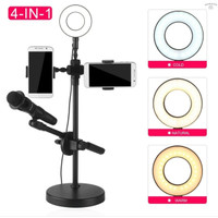 Selfie Halo Ring Light 4 in 1 With Stand Mic and 2x Smartphone Holder