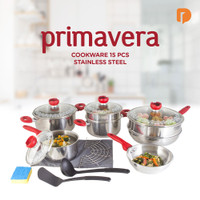 Set Panci Primavera Cookware 15 Pieces Stainless Steel