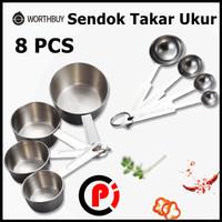 HOOMIN Sendok Takar Ukur Cup Stainless Steel Measuring Spoon 8 Pcs