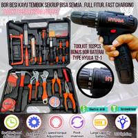 toolkit komplit mesin bor baterai perkakas alat tukang hyuga palu tang