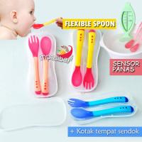Sendok Garpu Makan Bayi Sensor Panas Food Grade-BPA Free/wih box - Kuning