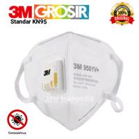 Masker N95 Merk 3M tipe 9501V+ Original box plastik