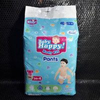 Popok Baby Happy M34+4 / Popok Bayi Celana Body Fit / 7-12 kg / 38 pcs