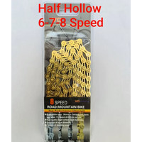 VG Sports Rantai Sepeda 8 Speed Half Hollow Gold - Bicycle Chain