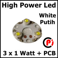 High Power Led 3W Seri Putih 6500k White Solder PCB Aluminium Heatsink