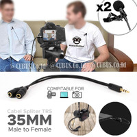 Splitter Cable/Kabel 3.5mm Double Mic Audio TRS Male to TRS for Camera