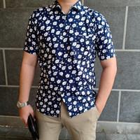 Baju Kemeja Printing Pria Casual Motif Bunga Lengan Pendek Bahan Katun