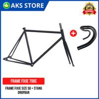 Frame + Stang Sepeda Balap Fixie Roadbike Ukuran 50 700C Rangka + Fork