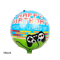 Balon Foil Bulat HBD Happy Birthday Game Size 45cm