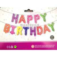 Balon Foil Huruf Set Happy Birthday Rainbow / Paket Ulang Tahun 06
