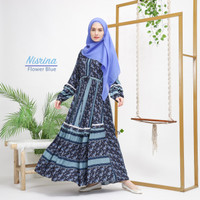 GAMIS DAILY AHZARAYY THE DAY FLOWER BLUE S MOM MOTIF CANTIK