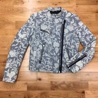 original gap chambray women floral moto jacket size M